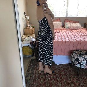 Vintage polka dot tuxedo romper / jumpsuit